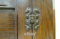 Antique English Carved Oak Open Face Corner Cabinet