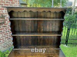 Antique English Jacobean PETITE Plate Welsh Dresser Sideboard Buffet Serve Oak