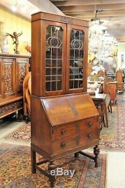 Antique English Oak Art Deco 2 Drawer Secretary Desk Leaded Glass Door Bookcase