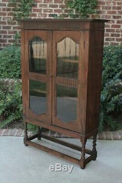 Antique English Oak Barley Twist Bookcase Display Cabinet Jacobean Tudor Cottage