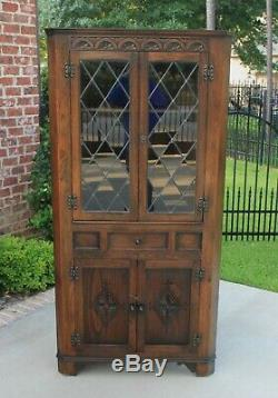 Antique English Oak Bookcase Display CORNER Cabinet Leaded Glass with Drawer