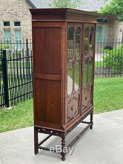 Antique English Oak Bookcase Display Cabinet Jacobean Barley Twist Glass Doors