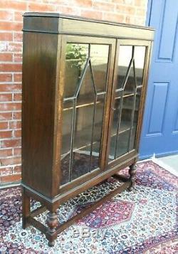 Antique English Oak Jacobean 2 Glass Door Bookcase / Display Cabinet