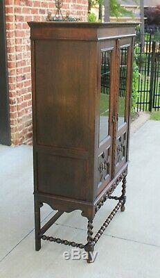 Antique English Oak Jacobean Barley Twist Cottage Bookcase Display Cabinet