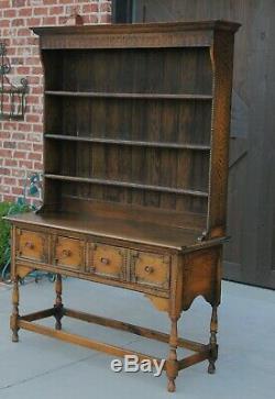 Antique English Oak Jacobean Welsh Plate Dresser Sideboard Cabinet Buffet Server