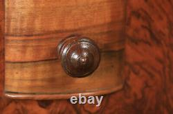 Antique English Pair of Art Deco Figured Walnut Bedside Chests Tables Nightstand