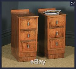 Antique English Pair of Art Deco Figured Walnut Bedside Chests / Tables / Stands