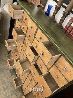 Antique English Reconditioned Wood 60 Drawer Apothocary Cabinet Chest of Drawers