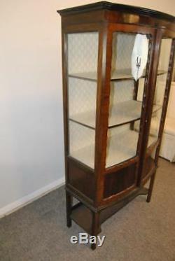 Antique English Two Door Mahogany Curio Cabinet Circa 1900