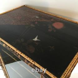 Antique English Victorian Bamboo Cabinet Curio Chinoiserie Lacquer Painting