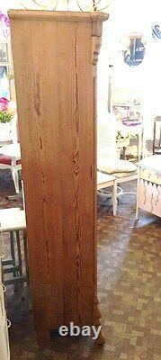 Antique European Austrian Pine Cupboard with Glass Doors Two Locking Areas 1880's