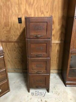Antique Fielder & Allen Oak Office Mission 4 Drawer File Cabinet