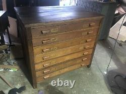 Antique Flat File Architect Or Map Cabinet, Drawer Unit