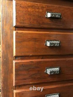Antique Flat File Cabinet, Antique Map Cabinet, Apothecary Drawer Unit