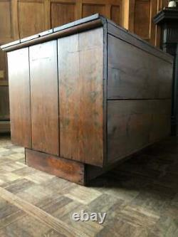 Antique Flat File Cabinet, Antique Pine Map Cabinet, Apothecary Drawer Unit