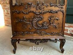 Antique French Carved Oak Glass Vitrine Display Cabinet Bookcase Louis XV style