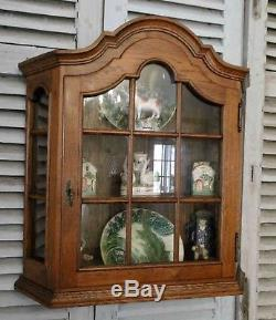 Antique French Country Wall Display Curio Cabinet Divided Glass