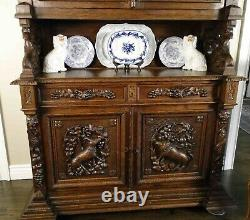 Antique French Hutch Cabinet Bookcase Buffet Carved Shell Dark Oak
