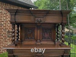 Antique French Oak BARLEY TWIST Bar Liquor Cabinet Buffet Renaissance Server