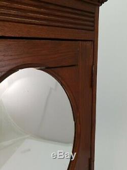 Antique French Oak Medicine Bathroom Vanity Cabinet w Mirror & Drawer