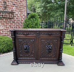 Antique French Sideboard Server Cabinet Renaissance Carved Oak 55 W