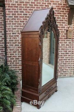 Antique French Wardrobe Armoire Cabinet Closet Bookcase Walnut Rococo Mirrored