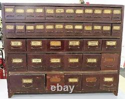 Antique General Store Wood Counter Seed Cabinet 38 X 31 1/2 X 13