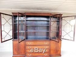 Antique Georgian Style Mahogany 2pc Breakfront Bookcase Cabinet 95W