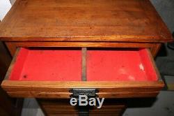 Antique Hamilton 10 Drawer Solid Oak Printers Type Letterpress Cabinet