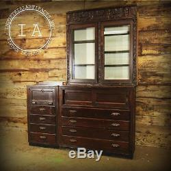 Antique Hand Carved 1900s Tobacco Shop Mahogany Built In Pipe Cigar Display Case