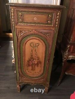 Antique Hand Painted Cabinet Console
