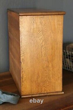 Antique Hardware Cabinet 9 Drawer oak Apothecary Vintage Wood Cubby tool box