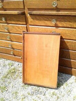 Antique Hardware Store Wall Cabinet 28 Drawers Tiger Oak 1910 Era