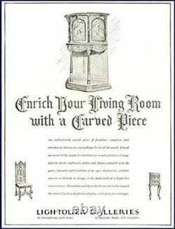 Antique Heavily Carved Vintage Oak Cabinet signed Lightolier New York Dining Bar