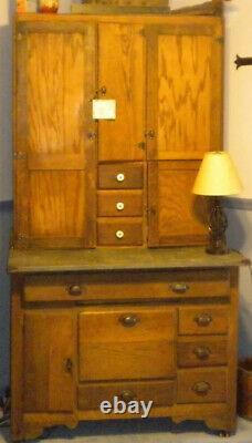 Antique -Hoosier/Baker Cabinet Early 1900s Oak, Great History! Original
