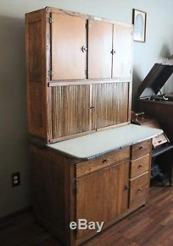 Antique Hoosier Cabinet With Porcelain Top Flour Bin Sugar