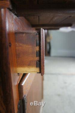 Antique Hoosier Cupboard Oak Kitchen Cabinet Tambour Pantry Rustic Farmhouse