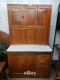 Antique Hoosier Oak Kitchen Cabinet With Flour Sifter Beautiful Condition