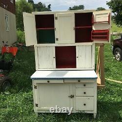 Antique Hoosier Style Wood Kitchen Cabinet