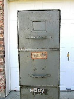 Antique Industrial Military Stackable Metal File Drawers Cabinet Steampunk