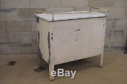 Antique Industrial Steel Metal Enamel Top Medical Cabinet DIY Bathroom Kitchen