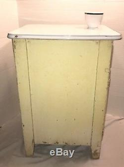 Antique Kitchen Cupboard Hoosier Style Wooden Cabinet Porcelain Top