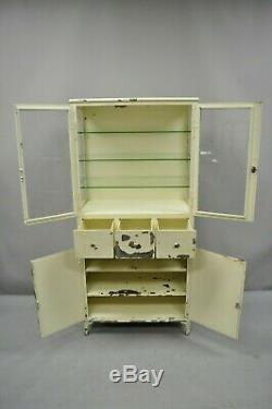 Antique Kny Scheerer Steel Metal Glass Medical Dental Pharmacy Bathroom Cabinet
