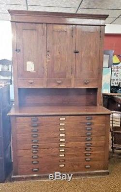 Antique LARGE Oak Flat File Blueprint Map Cabinet Automatic Early 1900's
