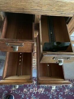 Antique Library Bureau Sole Maker 8 Over 2 Drawers File Cabinet Card Catalog