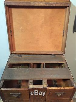 Antique Library Bureau Sole Makers Beautiful 4 Drawer Card Catalog Cabinet Top