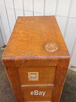 Antique Library Bureau Sole Makers Tiger Oak 4 Drawer File