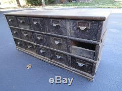 Antique Library Card or Index Card Catalog Wooden Table with Drawers compartment