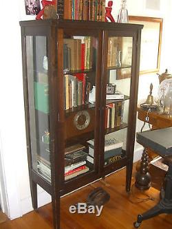 Antique Mahogany China Cabinet 3 Shelves With 3 Sides Glass C. 1930u0027s  Depression