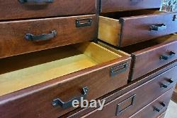 Antique Mahogany Library Bureau Sole Makers Stacking File Cabinet 14 Drawer